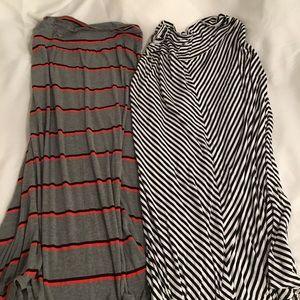 Pair of Merona maxi skirts XXL stripes